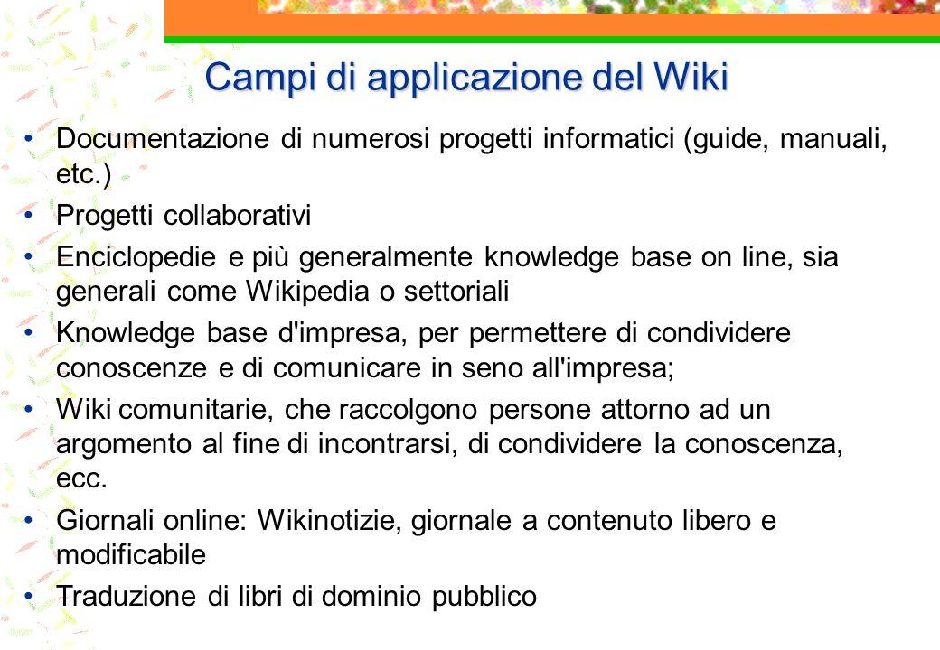 Campi di applicazione del Wiki Documentazione di numerosi progetti informatici (guide, manuali, etc.) Progetti collaborativi Enciclopedie e più genera