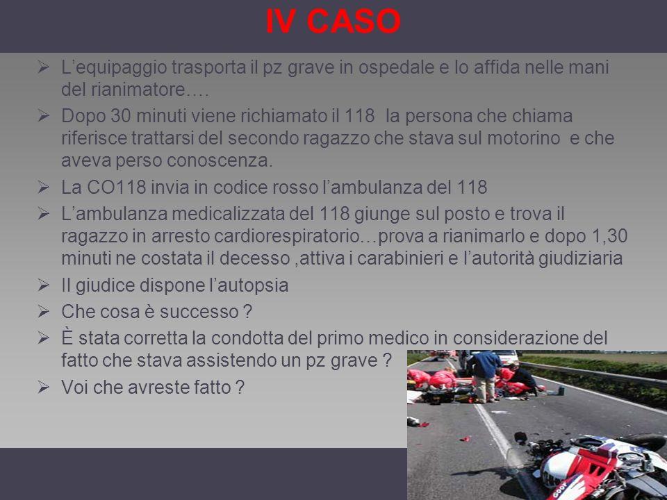 IV CASO Lequipaggio trasporta il pz grave in ospedale e lo affida nelle mani del rianimatore…. Dopo 30 minuti viene richiamato il 118 la persona che c