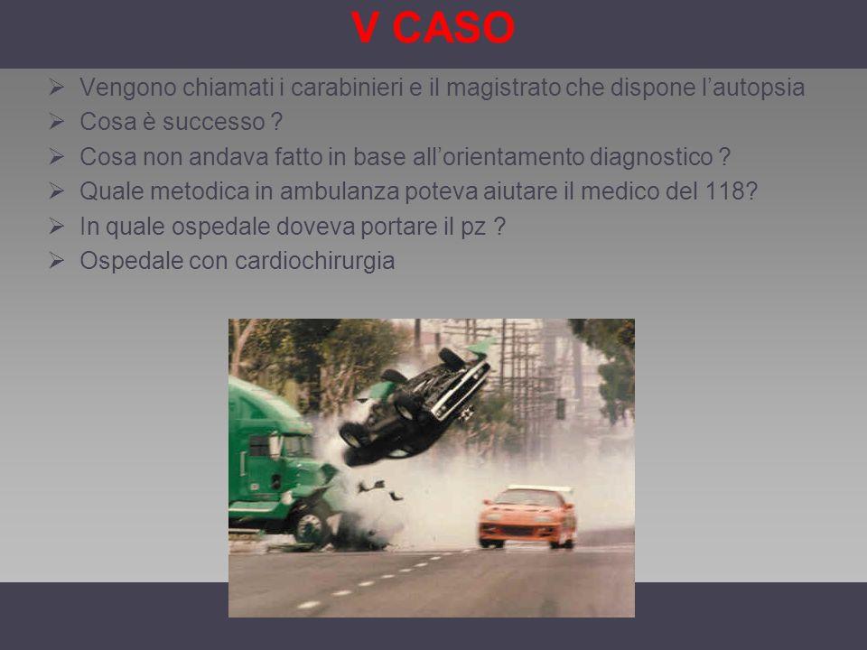 V CASO Vengono chiamati i carabinieri e il magistrato che dispone lautopsia Cosa è successo ? Cosa non andava fatto in base allorientamento diagnostic