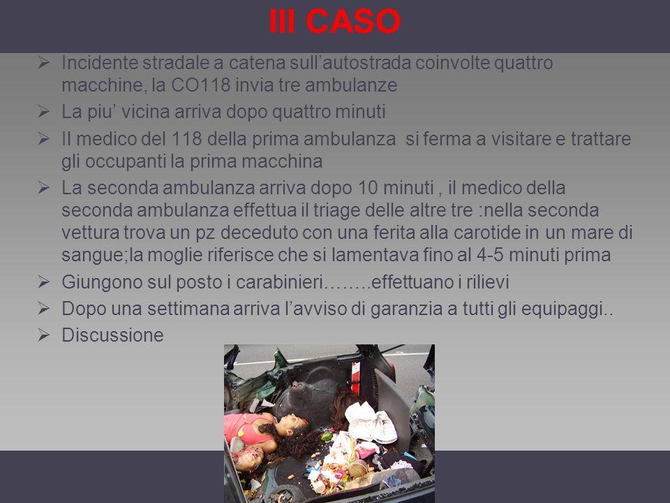 III CASO Incidente stradale a catena sullautostrada coinvolte quattro macchine, la CO118 invia tre ambulanze La piu vicina arriva dopo quattro minuti
