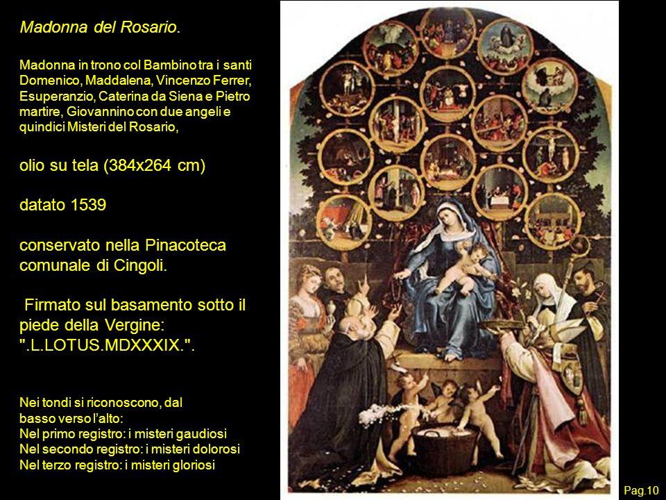 Madonna del Rosario. Madonna in trono col Bambino tra i santi Domenico, Maddalena, Vincenzo Ferrer, Esuperanzio, Caterina da Siena e Pietro martire, G