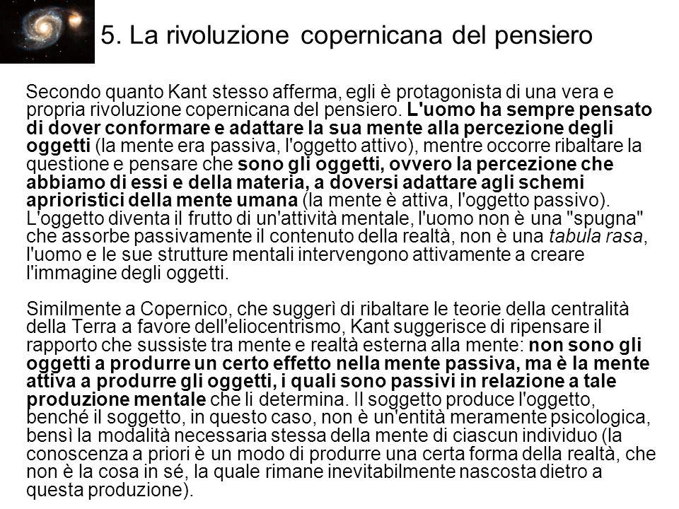 5. La rivoluzione copernicana del pensiero Secondo quanto Kant stesso afferma, egli è protagonista di una vera e propria rivoluzione copernicana del p