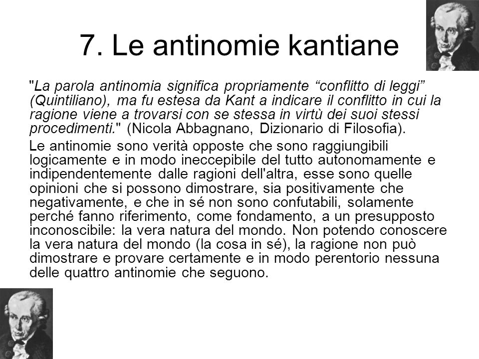 7. Le antinomie kantiane