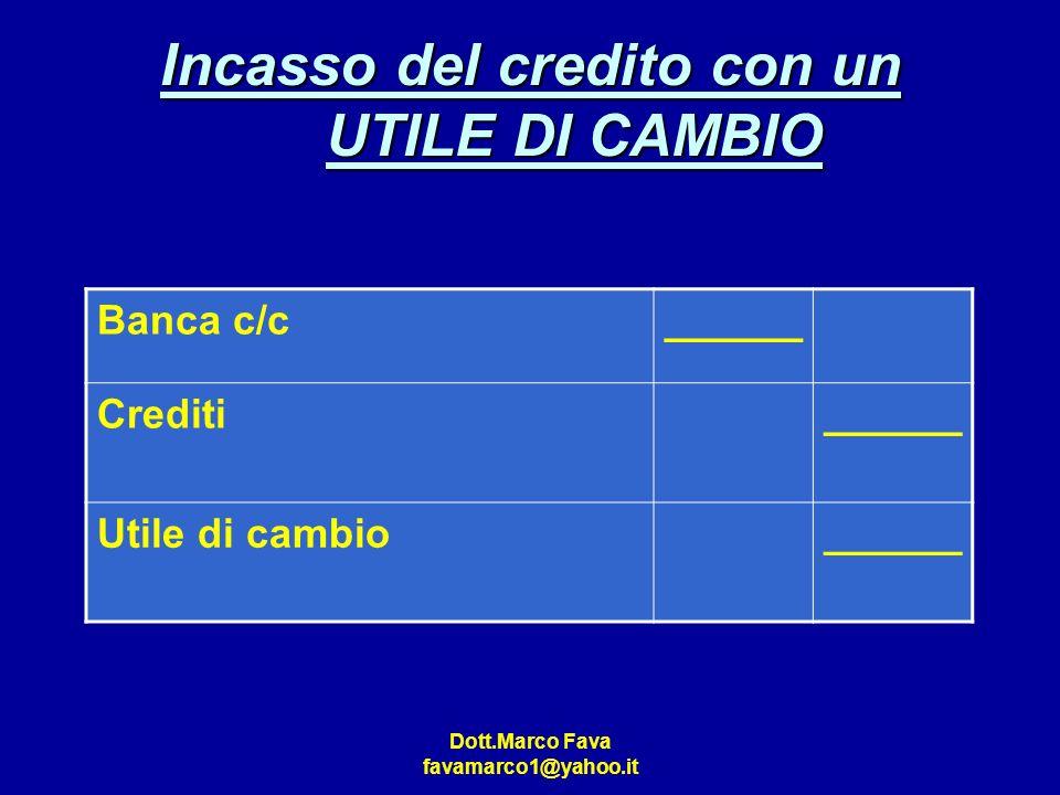 Dott.Marco Fava favamarco1@yahoo.it Incasso del credito con un UTILE DI CAMBIO Banca c/c______ Crediti______ Utile di cambio______