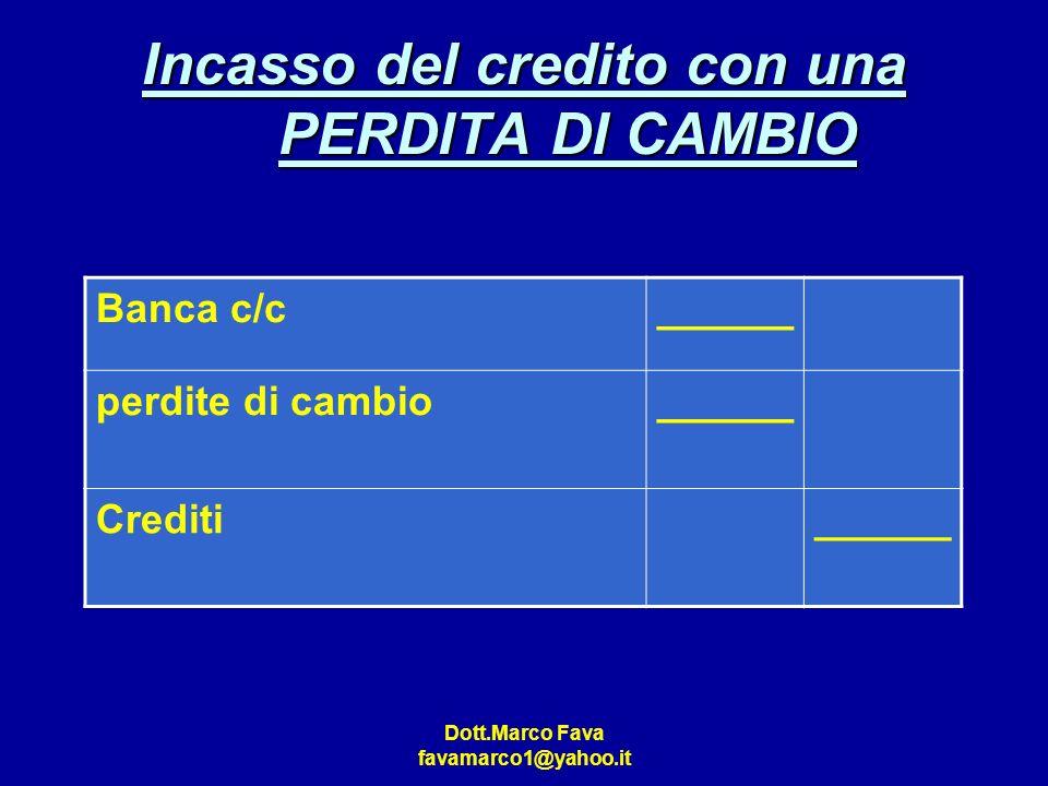 Dott.Marco Fava favamarco1@yahoo.it Incasso del credito con una PERDITA DI CAMBIO Banca c/c______ perdite di cambio______ Crediti______
