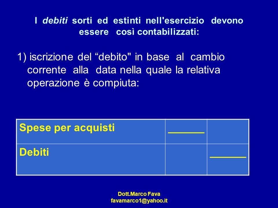Dott.Marco Fava favamarco1@yahoo.it I debiti sorti ed estinti nell'esercizio devono essere così contabilizzati: 1) iscrizione del debito