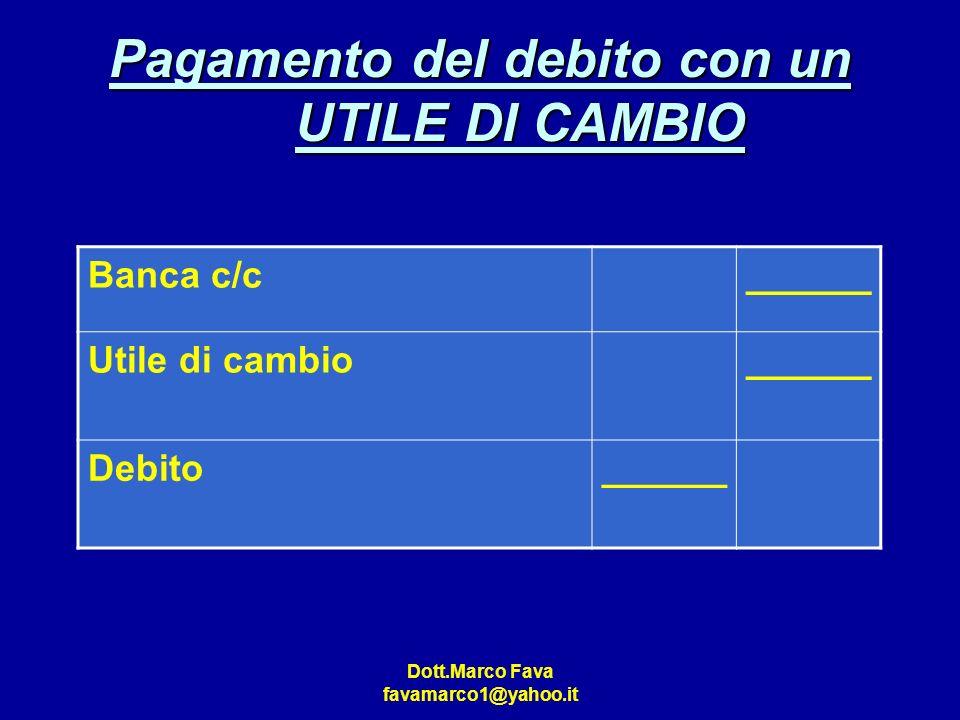 Dott.Marco Fava favamarco1@yahoo.it Pagamento del debito con un UTILE DI CAMBIO Banca c/c______ Utile di cambio______ Debito______