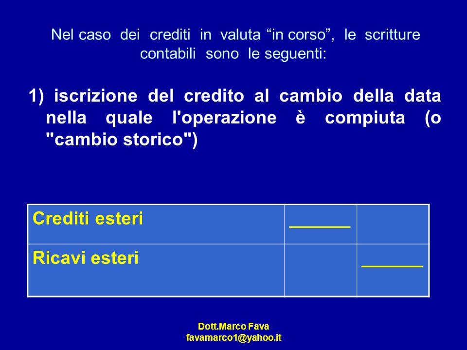 Dott.Marco Fava favamarco1@yahoo.it Nel caso dei crediti in valuta in corso, le scritture contabili sono le seguenti: 1) iscrizione del credito al cam