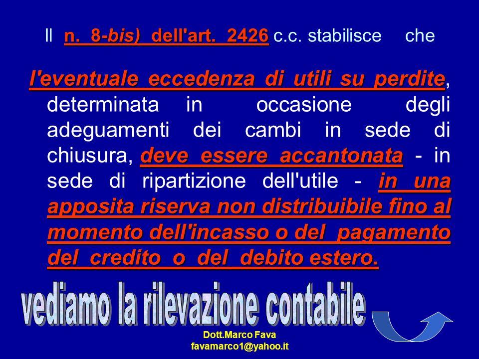 Dott.Marco Fava favamarco1@yahoo.it n. 8-bis) dell'art. 2426 Il n. 8-bis) dell'art. 2426 c.c. stabilisce che l'eventuale eccedenza di utili su perdite