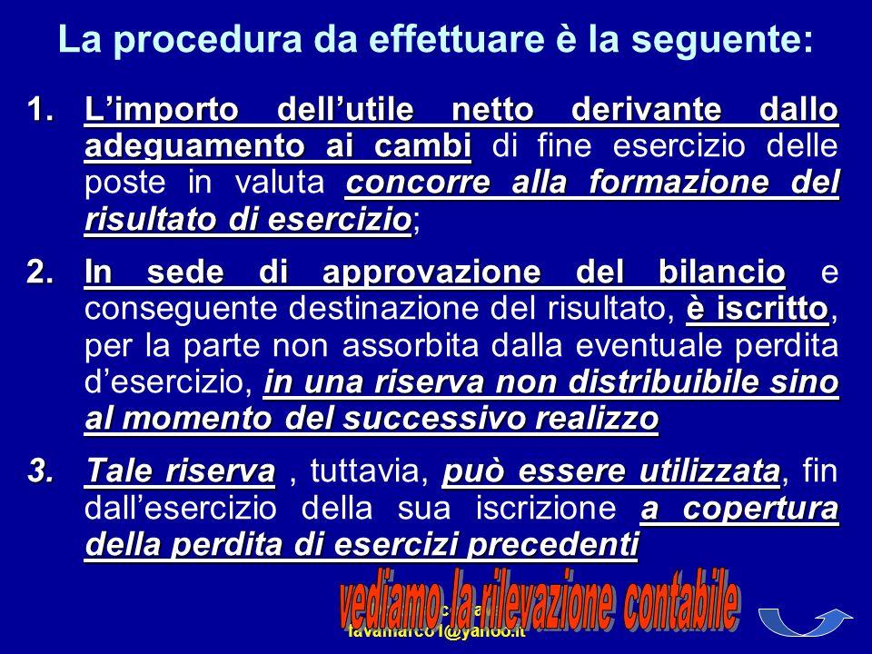 Dott.Marco Fava favamarco1@yahoo.it La procedura da effettuare è la seguente: 1.Limporto dellutile netto derivante dallo adeguamento ai cambi concorre