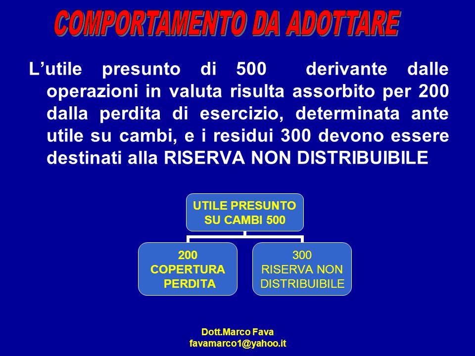 Dott.Marco Fava favamarco1@yahoo.it Lutile presunto di 500 derivante dalle operazioni in valuta risulta assorbito per 200 dalla perdita di esercizio,
