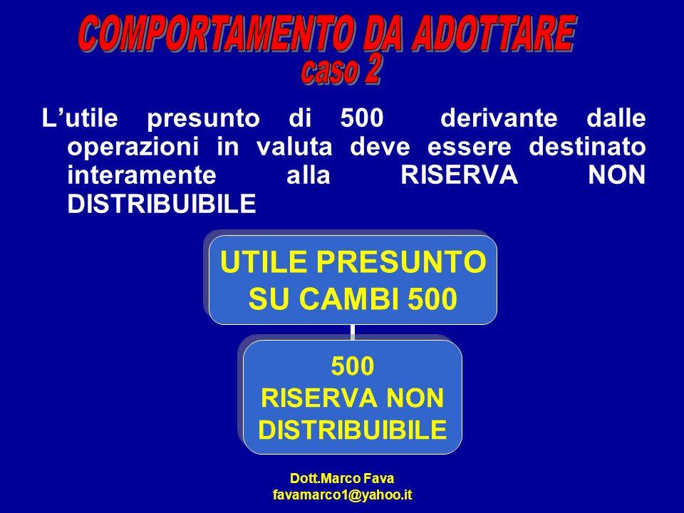 Dott.Marco Fava favamarco1@yahoo.it Lutile presunto di 500 derivante dalle operazioni in valuta deve essere destinato interamente alla RISERVA NON DIS