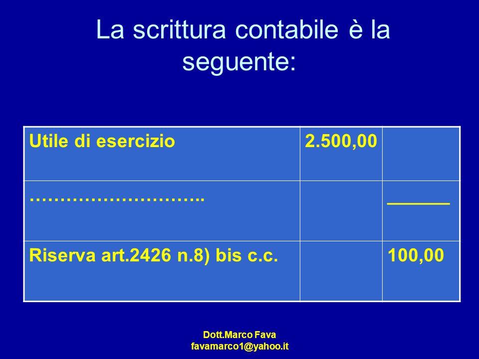 Dott.Marco Fava favamarco1@yahoo.it La scrittura contabile è la seguente: Utile di esercizio2.500,00 ………………………..______ Riserva art.2426 n.8) bis c.c.1