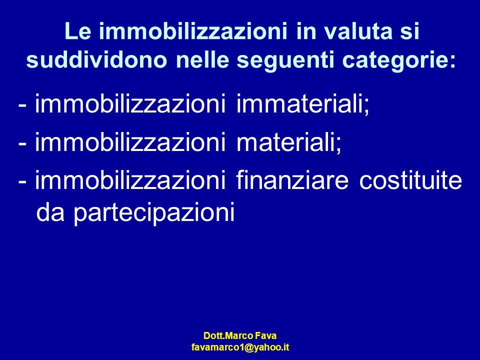 Dott.Marco Fava favamarco1@yahoo.it Le immobilizzazioni in valuta si suddividono nelle seguenti categorie: - immobilizzazioni immateriali; - immobiliz