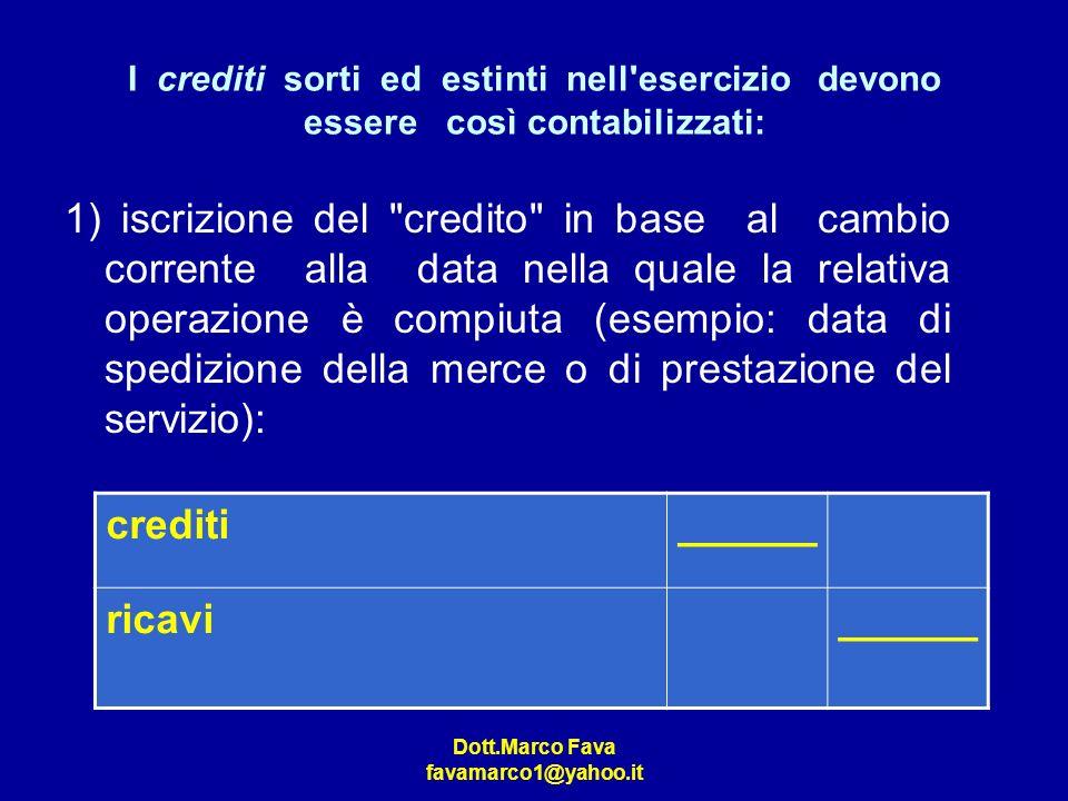 Dott.Marco Fava favamarco1@yahoo.it I crediti sorti ed estinti nell'esercizio devono essere così contabilizzati: 1) iscrizione del