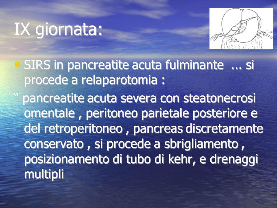 IX giornata: SIRS in pancreatite acuta fulminante...