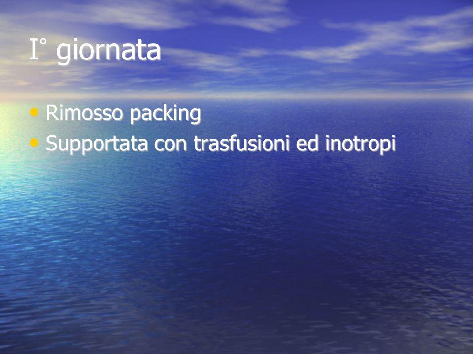 I° giornata Rimosso packing Rimosso packing Supportata con trasfusioni ed inotropi Supportata con trasfusioni ed inotropi