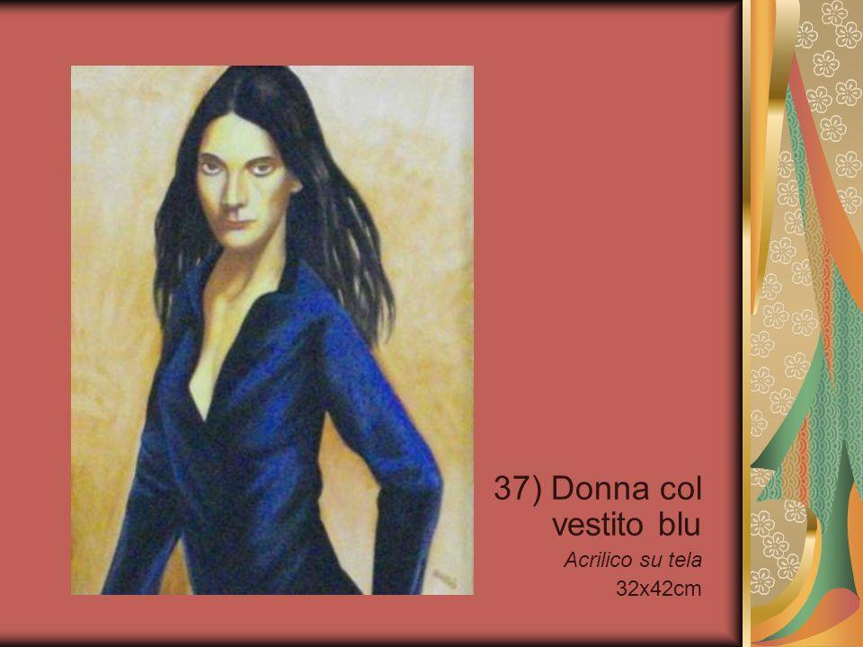 37) Donna col vestito blu Acrilico su tela 32x42cm