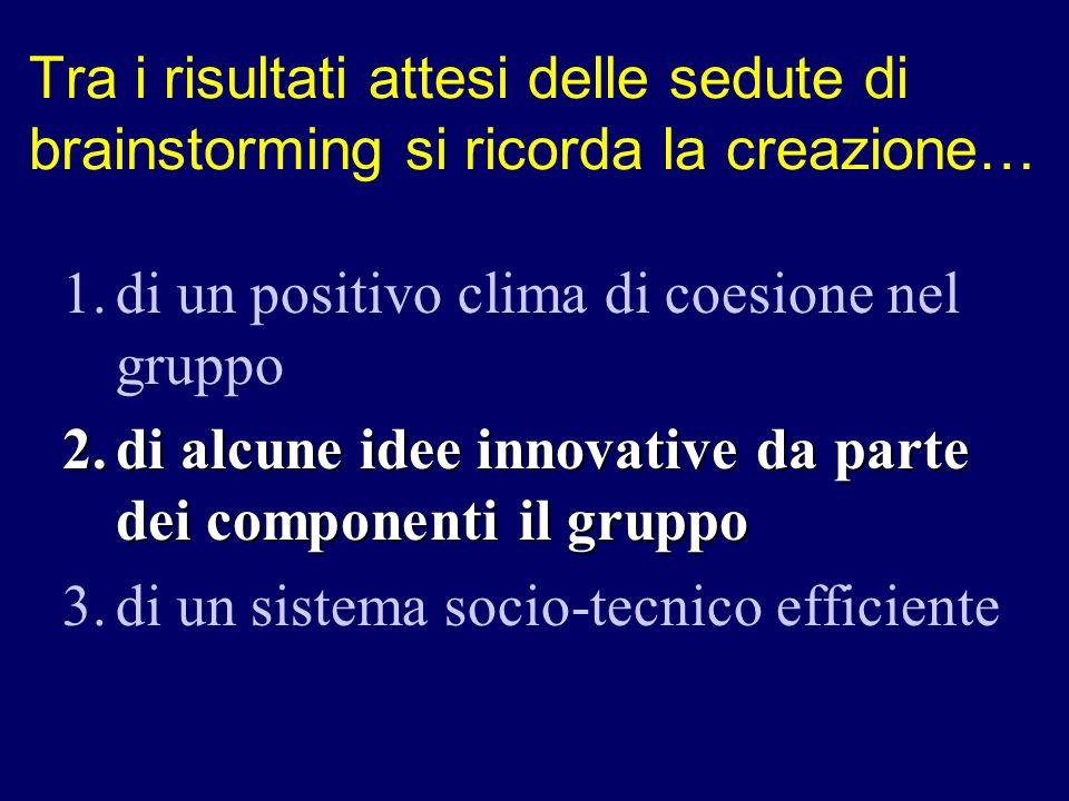 1.di un positivo clima di coesione nel gruppo 2.di alcune idee innovative da parte dei componenti il gruppo 3.di un sistema socio-tecnico efficiente T