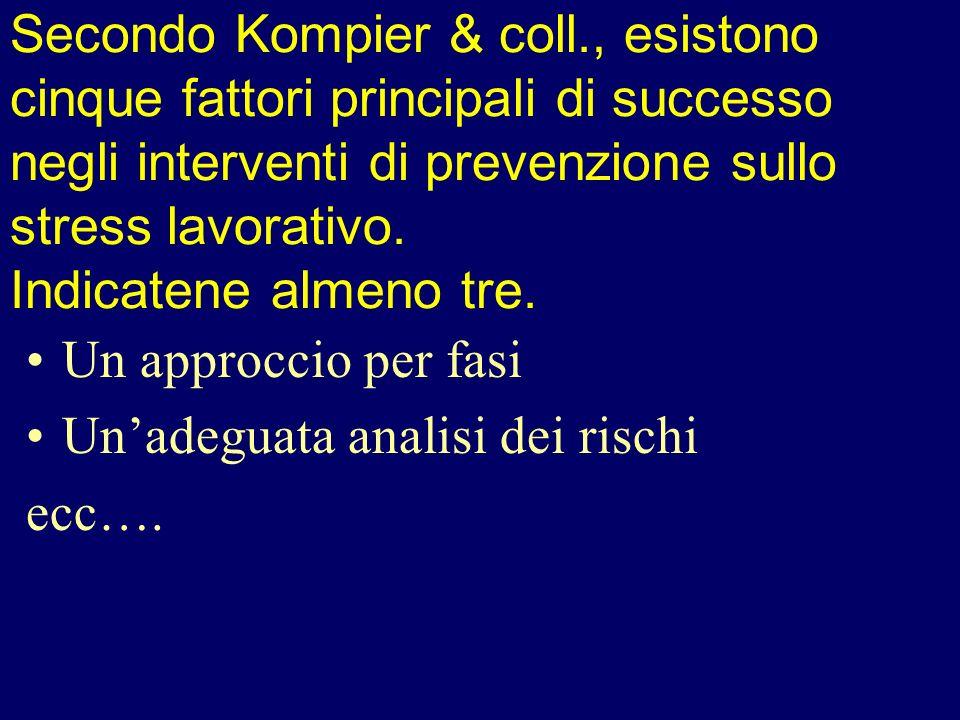 Secondo Kompier & coll., esistono cinque fattori principali di successo negli interventi di prevenzione sullo stress lavorativo. Indicatene almeno tre