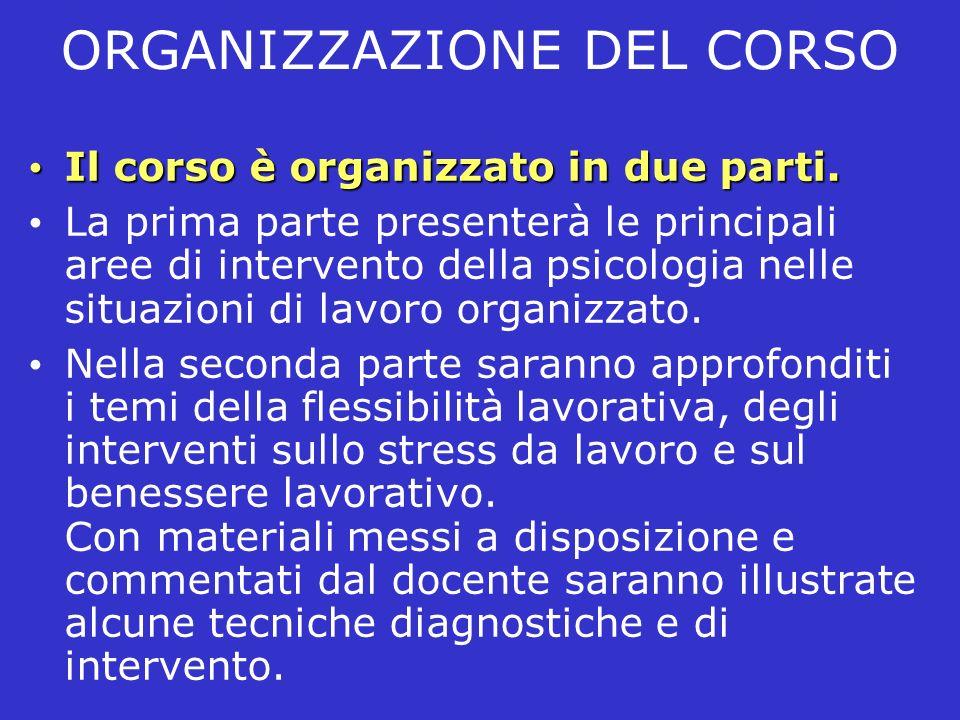ORGANIZZAZIONE DEL CORSO Il corso è organizzato in due parti. Il corso è organizzato in due parti. La prima parte presenterà le principali aree di int