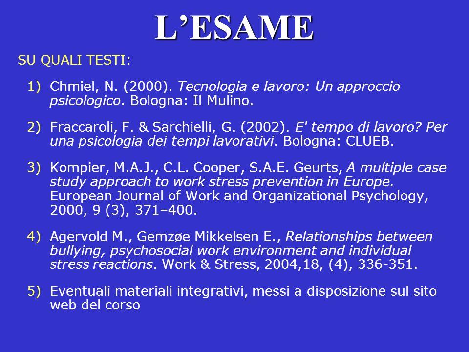 LESAME SU QUALI TESTI: 1)Chmiel, N. (2000). Tecnologia e lavoro: Un approccio psicologico. Bologna: Il Mulino. 2)Fraccaroli, F. & Sarchielli, G. (2002