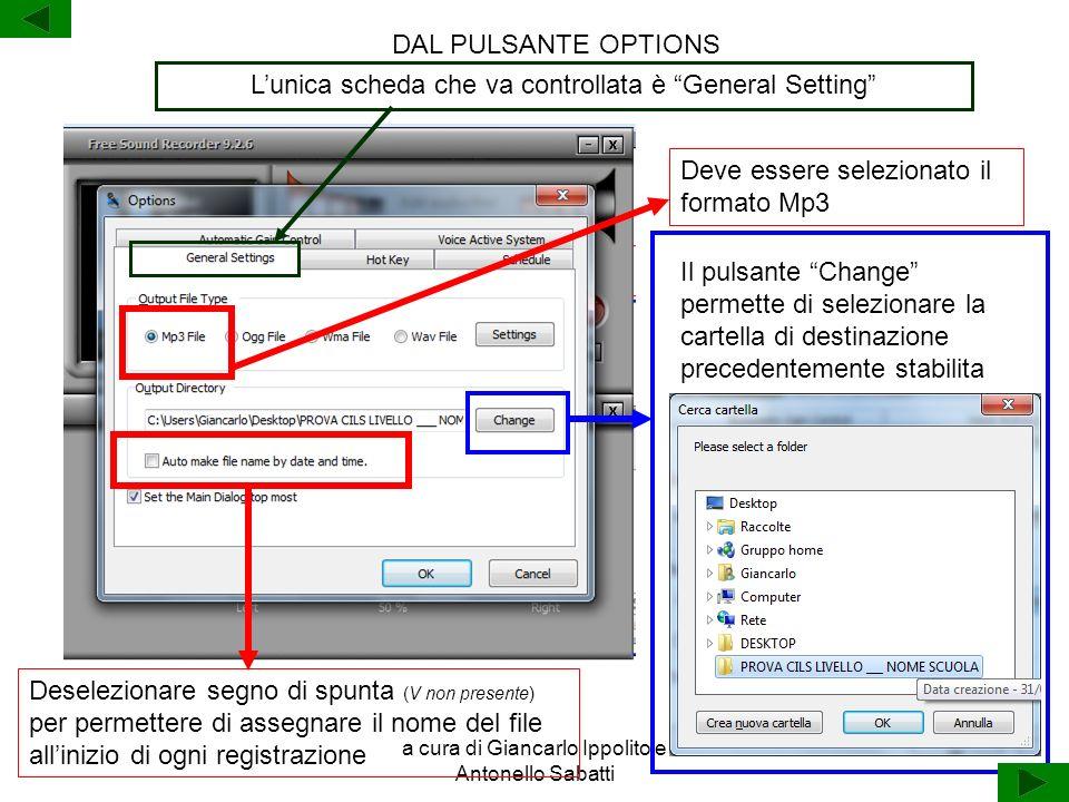 a cura di Giancarlo Ippolito e Antonello Sabatti Lunica scheda che va controllata è General Setting DAL PULSANTE OPTIONS Deve essere selezionato il fo