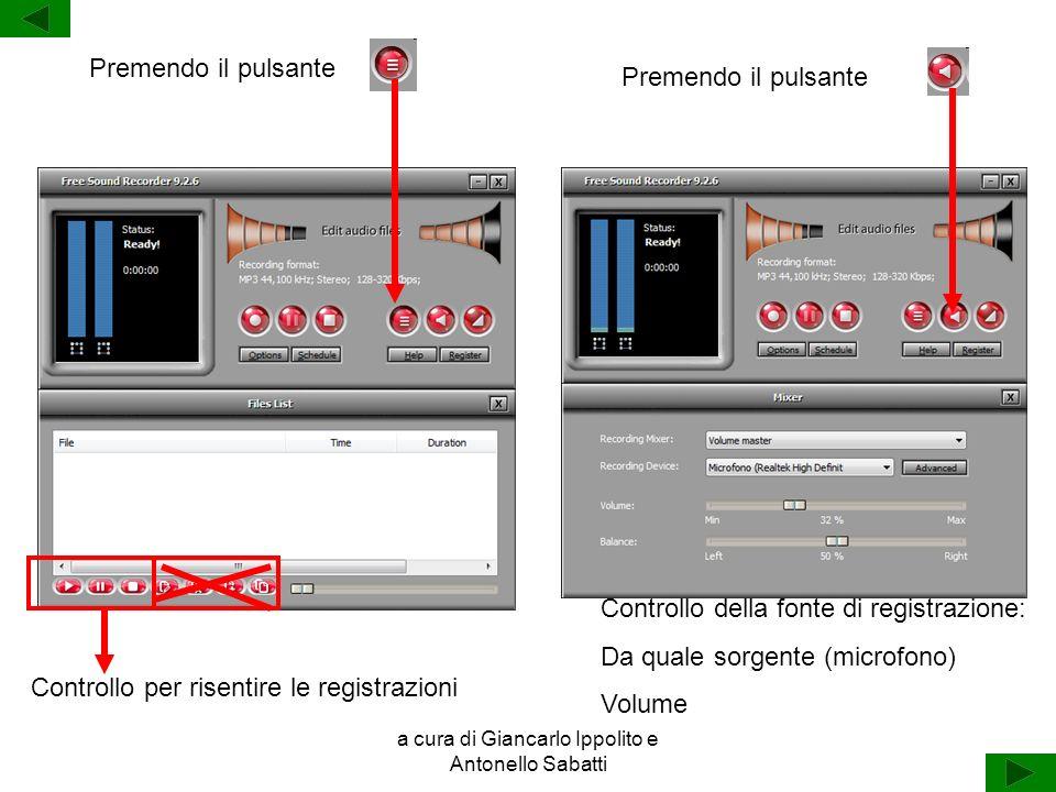 a cura di Giancarlo Ippolito e Antonello Sabatti Premendo il pulsante Controllo per risentire le registrazioni Controllo della fonte di registrazione: