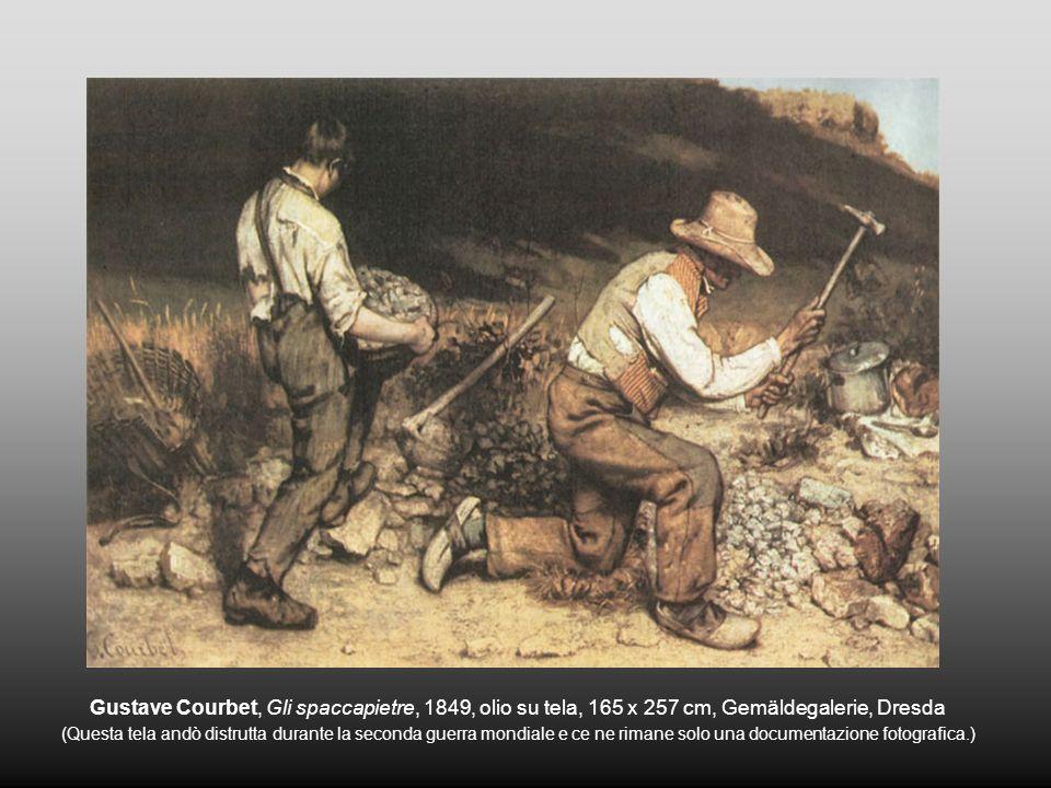 Gustave Courbet, Gli spaccapietre, 1849, olio su tela, 165 x 257 cm, Gemäldegalerie, Dresda (Questa tela andò distrutta durante la seconda guerra mond