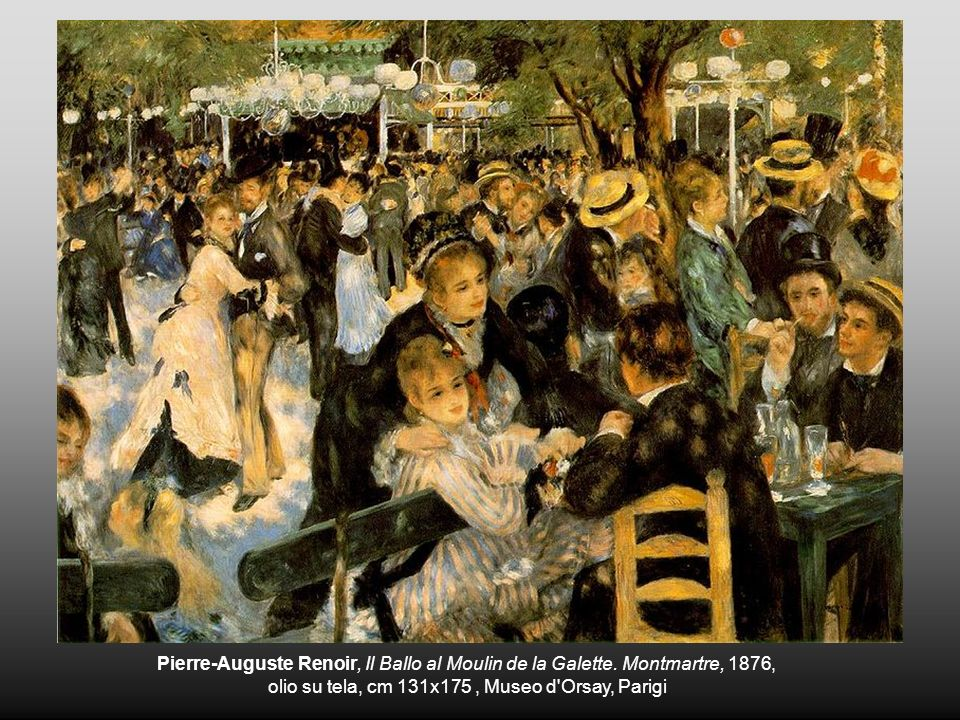 Pierre-Auguste Renoir, Il Ballo al Moulin de la Galette. Montmartre, 1876, olio su tela, cm 131x175, Museo d'Orsay, Parigi
