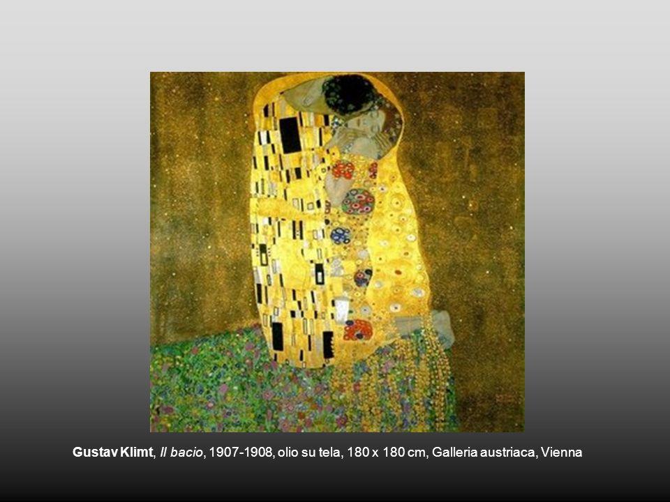 Gustav Klimt, Il bacio, 1907-1908, olio su tela, 180 x 180 cm, Galleria austriaca, Vienna