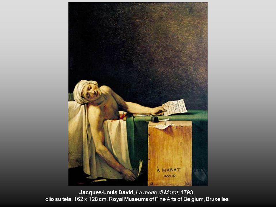 Jacques-Louis David, La morte di Marat, 1793, olio su tela, 162 x 128 cm, Royal Museums of Fine Arts of Belgium, Bruxelles