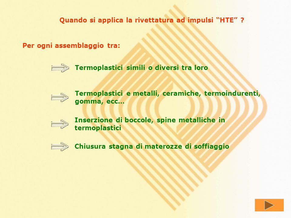 Quali sono i vantaggi della rivettatura ad impulsi HTE ? Nessun danno per calore o vibrazioni Serraggio sicuro, ripetitivo e resistente nel tempo Tens
