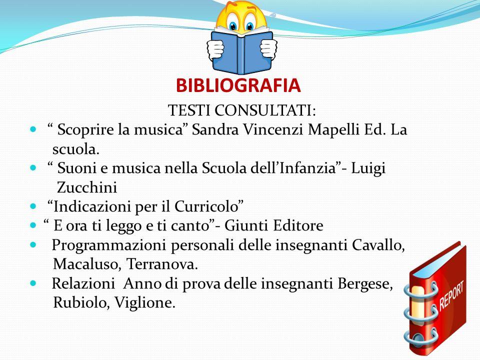 BIBLIOGRAFIA TESTI CONSULTATI: Scoprire la musica Sandra Vincenzi Mapelli Ed. La scuola. Suoni e musica nella Scuola dellInfanzia- Luigi Zucchini Indi