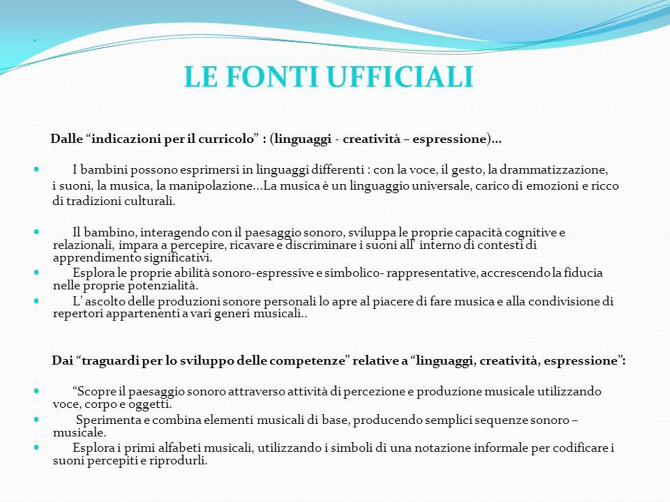 LE FONTI UFFICIALI Dalle indicazioni per il curricolo : (linguaggi - creatività – espressione)... I bambini possono esprimersi in linguaggi differenti