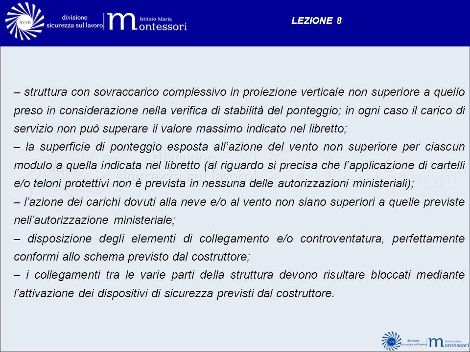 LEZIONE 8 – struttura con sovraccarico complessivo in proiezione verticale non superiore a quello preso in considerazione nella verifica di stabilità