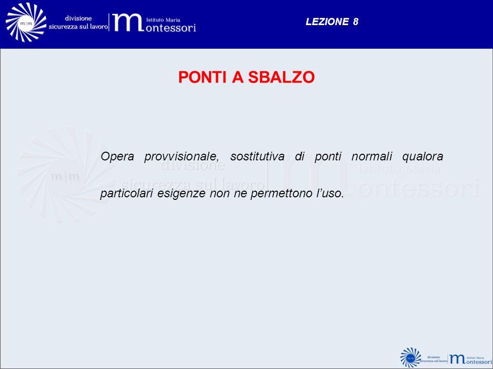 LEZIONE 8 PONTI A SBALZO Opera provvisionale, sostitutiva di ponti normali qualora particolari esigenze non ne permettono luso.