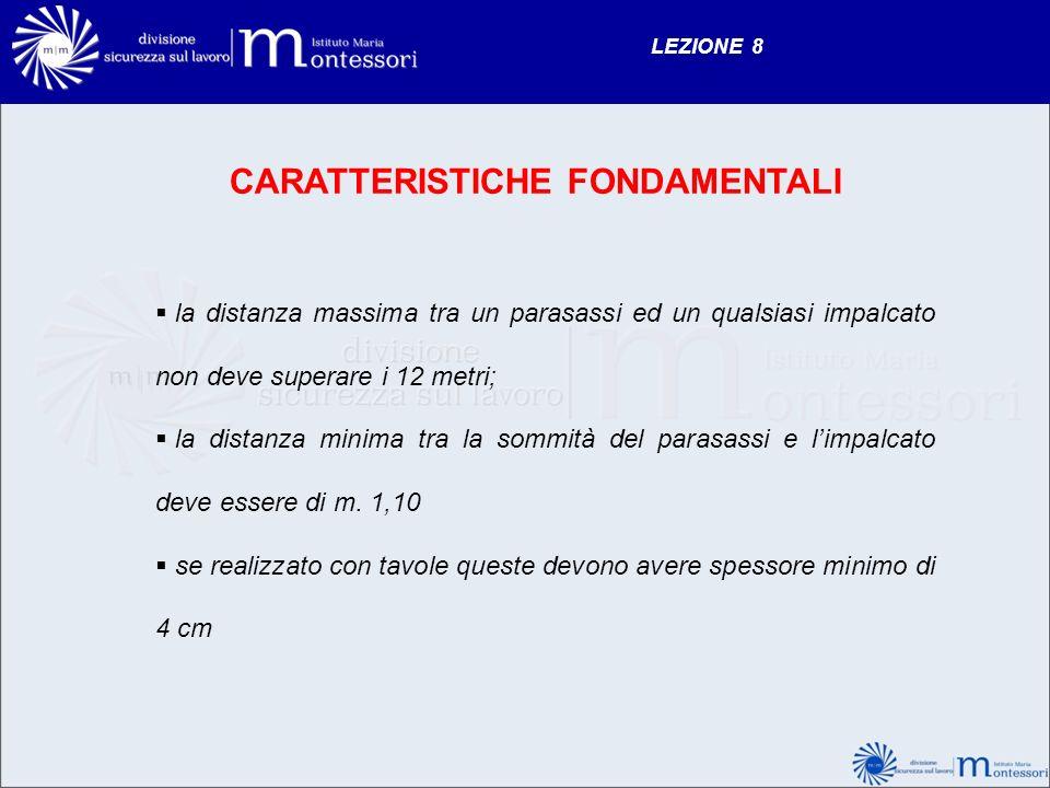 LEZIONE 8 CARATTERISTICHE FONDAMENTALI la distanza massima tra un parasassi ed un qualsiasi impalcato non deve superare i 12 metri; la distanza minima