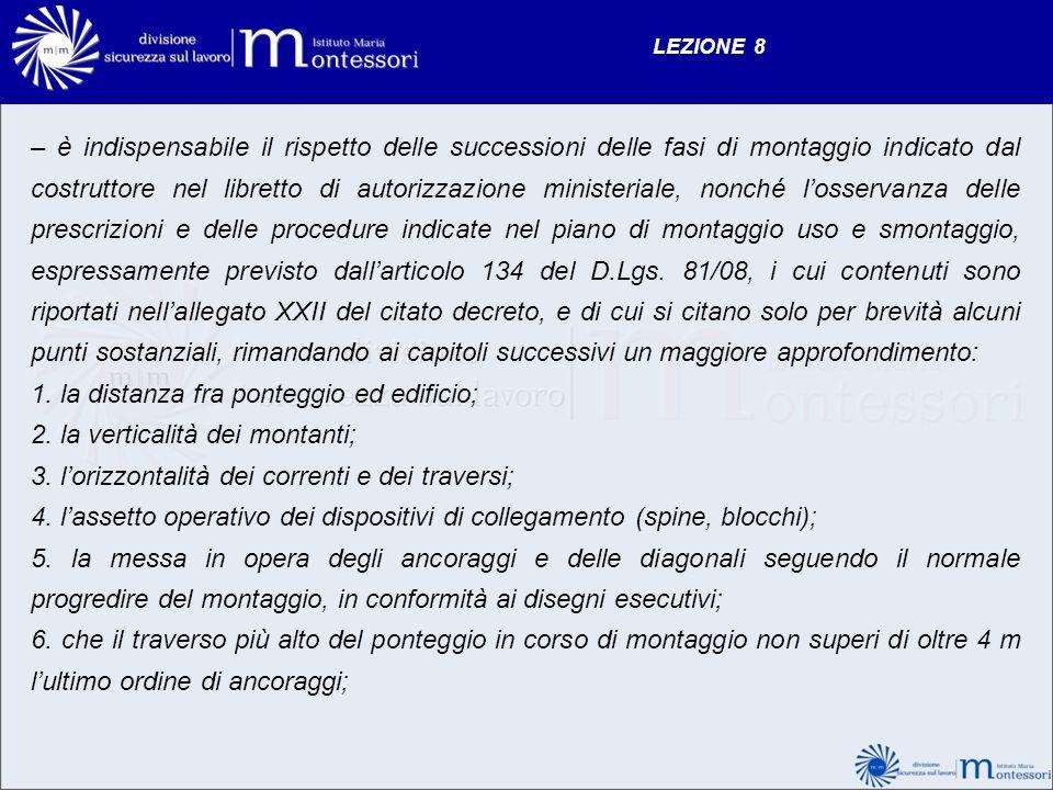 LEZIONE 8 – è indispensabile il rispetto delle successioni delle fasi di montaggio indicato dal costruttore nel libretto di autorizzazione ministerial