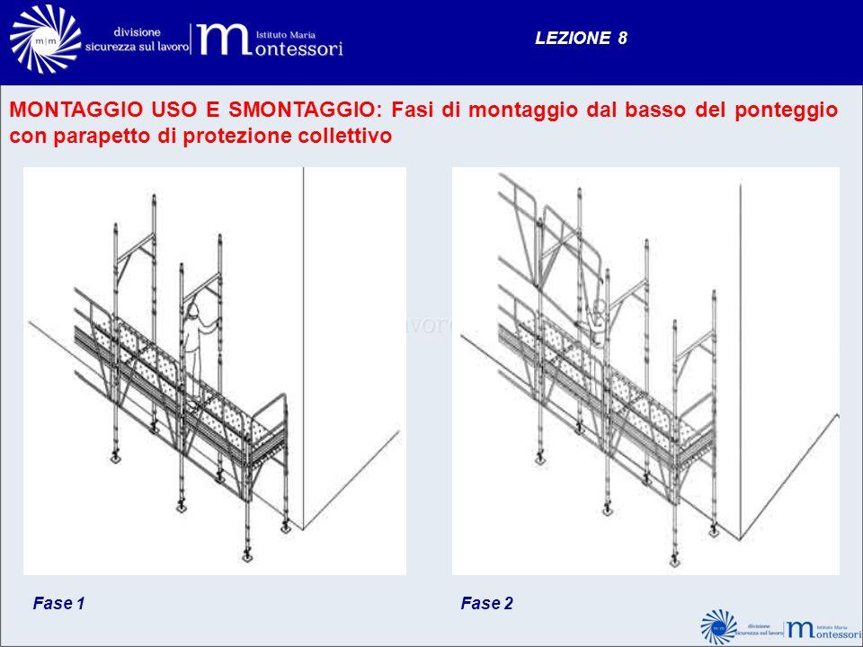 LEZIONE 8 MONTAGGIO USO E SMONTAGGIO: Fasi di montaggio dal basso del ponteggio con parapetto di protezione collettivo Fase 1Fase 2