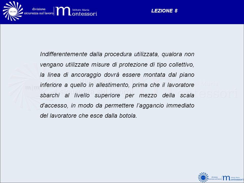 LEZIONE 8 Indifferentemente dalla procedura utilizzata, qualora non vengano utilizzate misure di protezione di tipo collettivo, la linea di ancoraggio