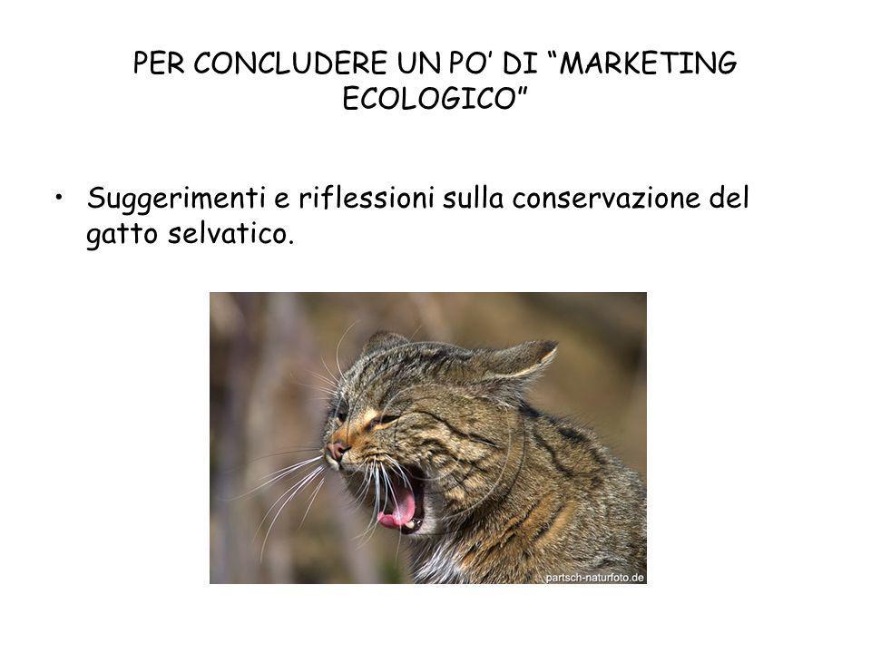 PER CONCLUDERE UN PO DI MARKETING ECOLOGICO Suggerimenti e riflessioni sulla conservazione del gatto selvatico.