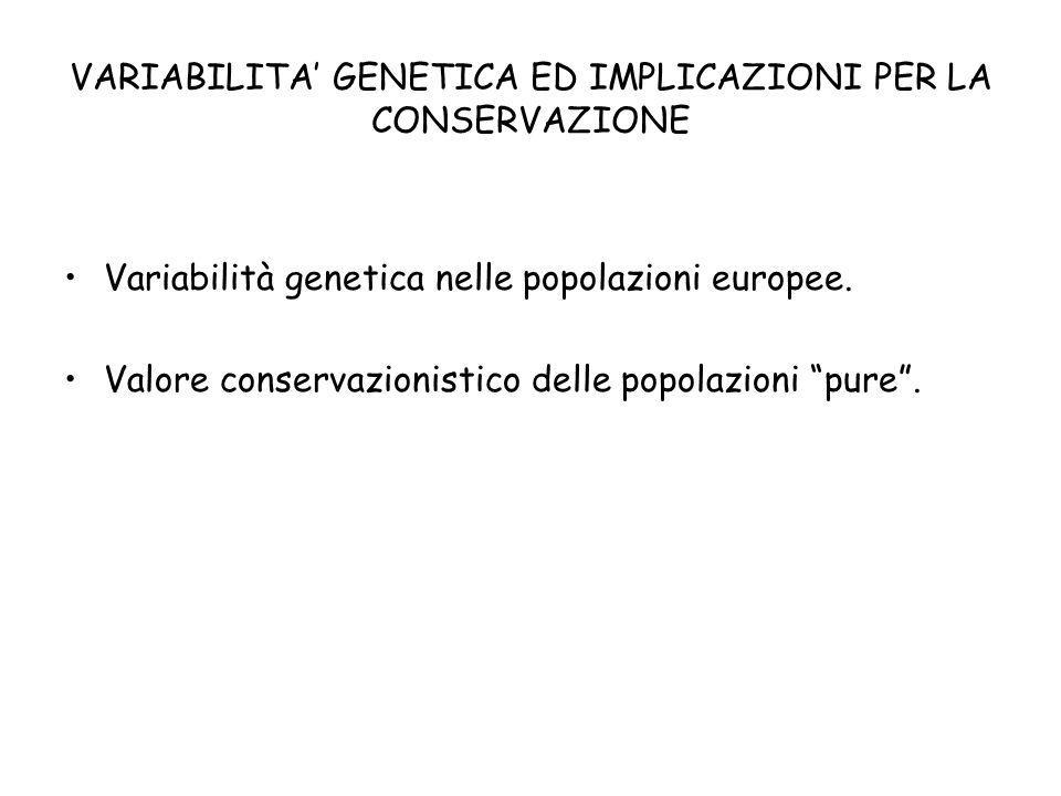 VARIABILITA GENETICA ED IMPLICAZIONI PER LA CONSERVAZIONE Variabilità genetica nelle popolazioni europee. Valore conservazionistico delle popolazioni