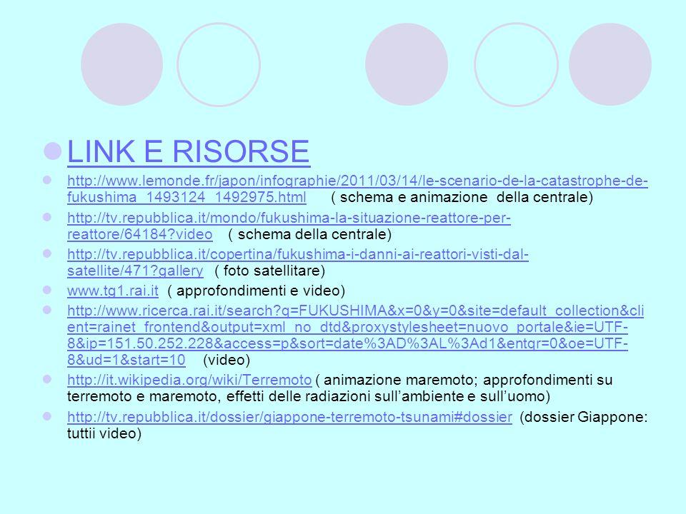 LINK E RISORSE http://www.lemonde.fr/japon/infographie/2011/03/14/le-scenario-de-la-catastrophe-de- fukushima_1493124_1492975.html ( schema e animazio