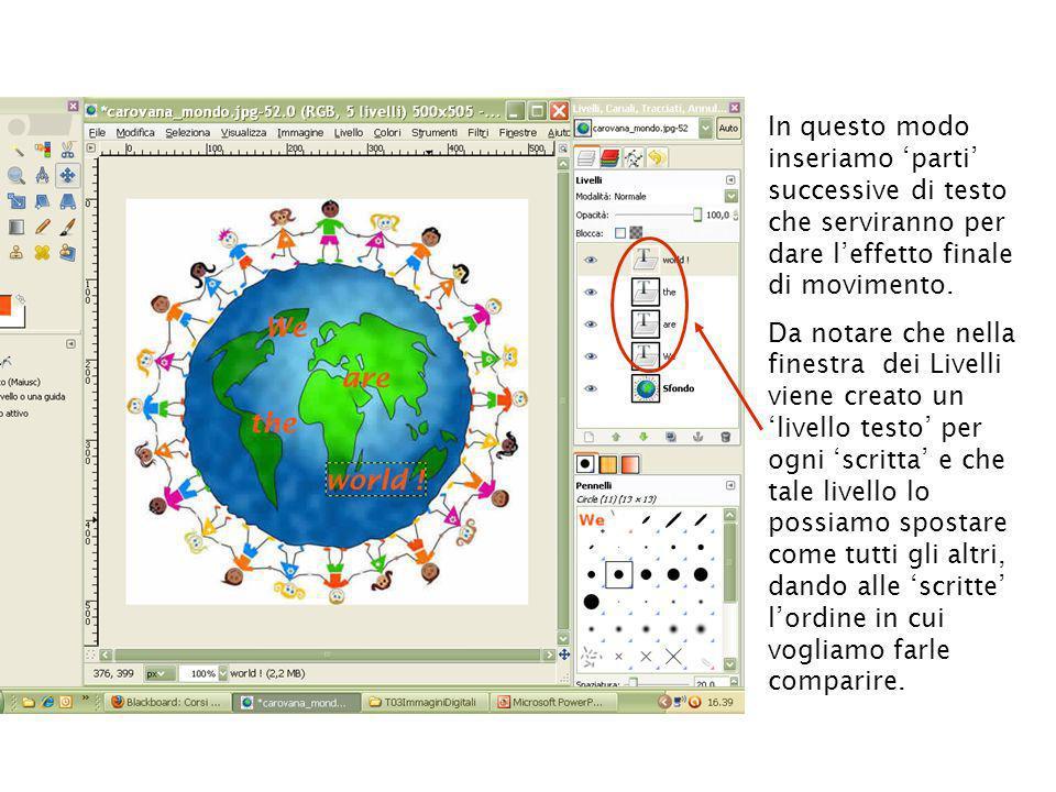 Utilizzando: Filtri Animazione Esecuzione, possiamo vedere lanteprima della nostra scritta animata !