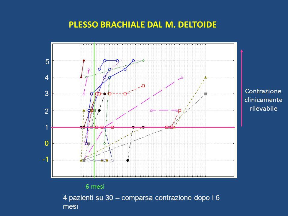 PLESSO BRACHIALE DAL M. DELTOIDE Contrazione clinicamente rilevabile 6 mesi 1 2 5 4 3 0 4 pazienti su 30 – comparsa contrazione dopo i 6 mesi