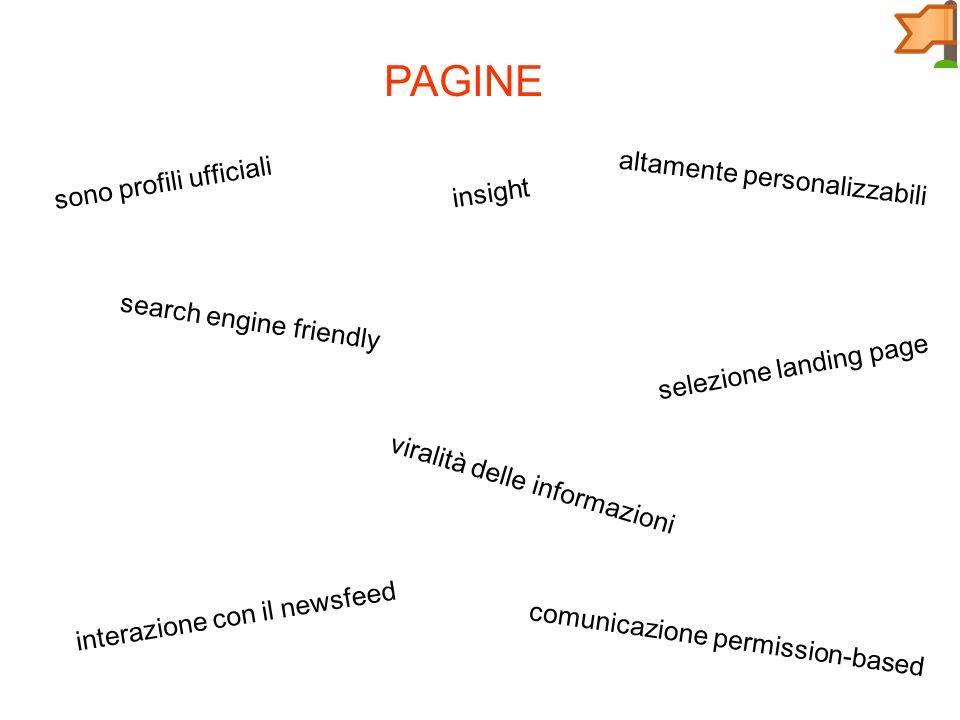 PAGINE sono profili ufficiali altamente personalizzabili search engine friendly selezione landing page insight viralità delle informazioni interazione