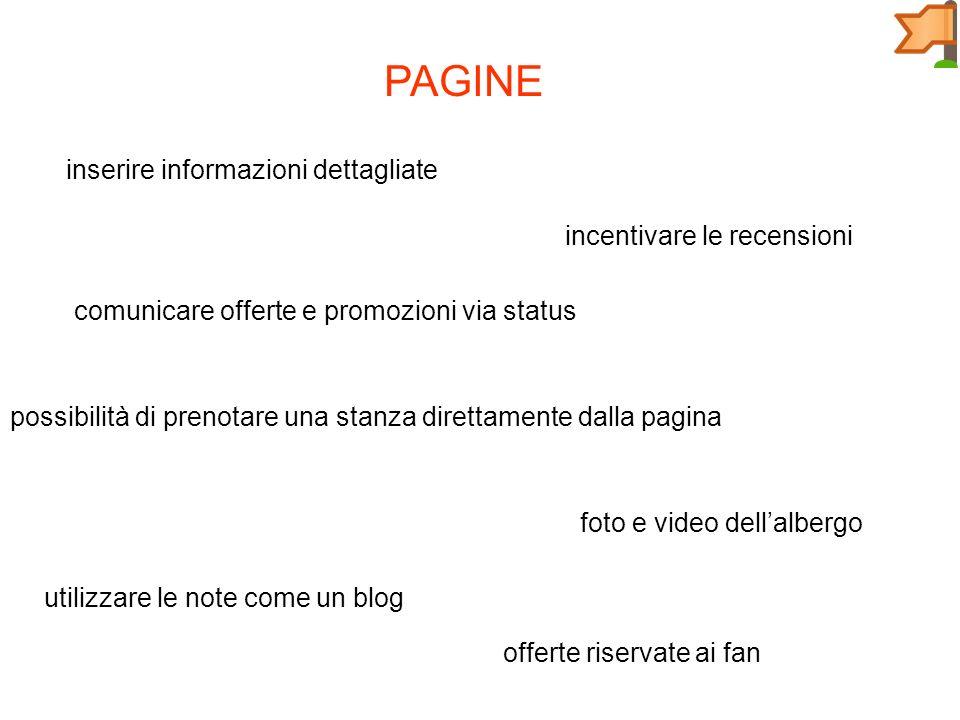 PAGINE inserire informazioni dettagliate foto e video dellalbergo incentivare le recensioni comunicare offerte e promozioni via status possibilità di