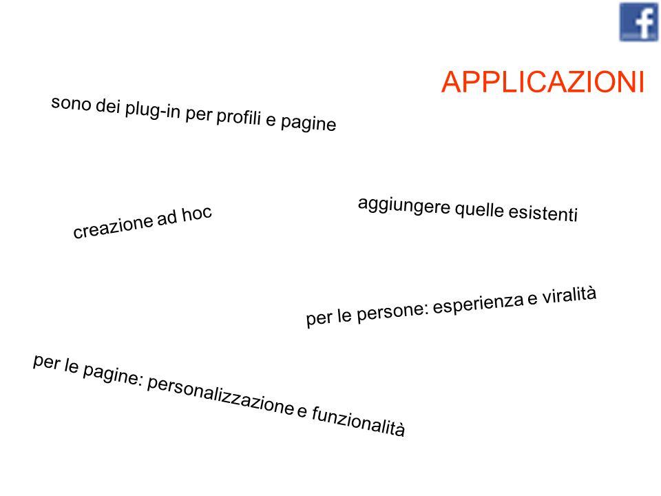 APPLICAZIONI per le persone: esperienza e viralità per le pagine: personalizzazione e funzionalità sono dei plug-in per profili e pagine creazione ad