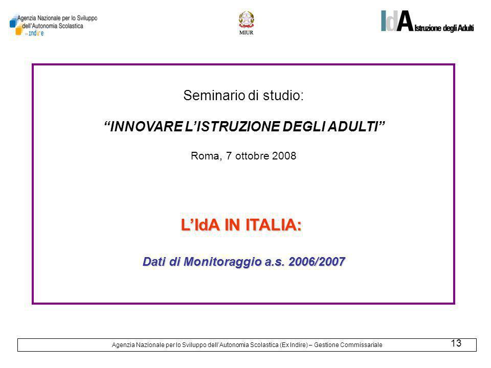 13 Seminario di studio: INNOVARE LISTRUZIONE DEGLI ADULTI Roma, 7 ottobre 2008 LIdA IN ITALIA: Dati di Monitoraggio a.s.